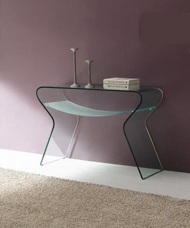 mesa tipo consola de diseño de cristal curvado y mateado
