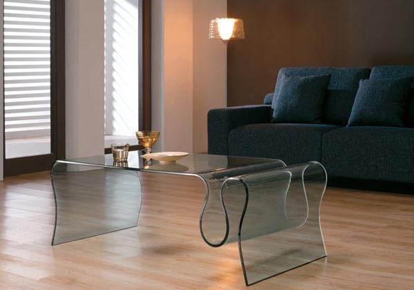 Mesa de cristal onda. Válida para cualquier estancia de la casa con tema decorativo.
