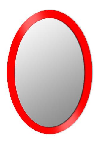 Espejo ovalado sobre cristal lacado.