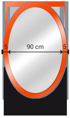 espejo ovalado sobre cristal lacado medidas