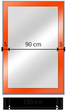 espejo rectangular sobre cristal lacado medidas