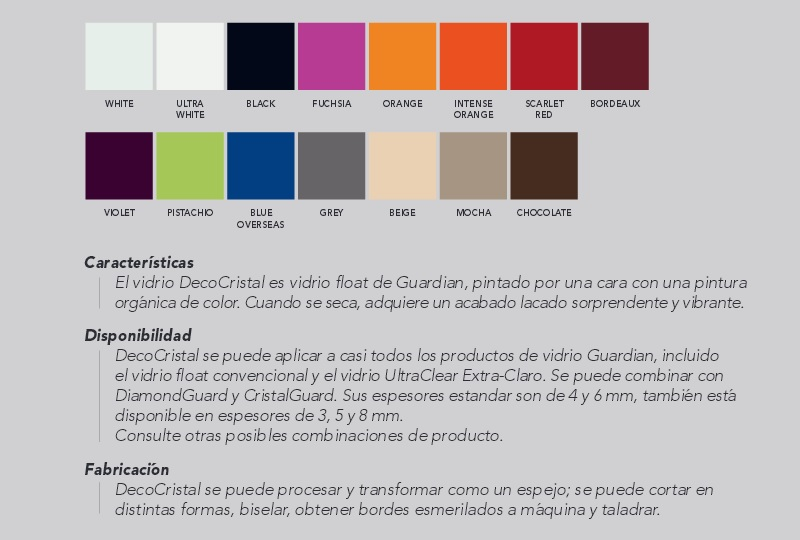 gama de colores y de vidrios lacados