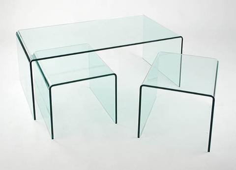 Triple mesa de cristal