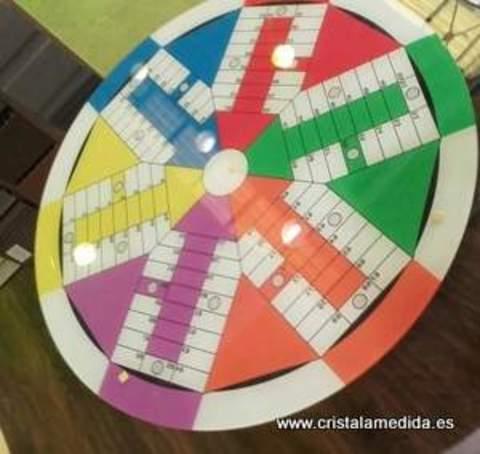 Cristal a medida - Tapa para mesa edición parchís