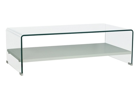 Mesa de cristal templado curvada.