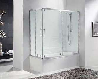 Mampara para bañera angular 2 fijos + 2 deslizantes